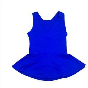 Susana Monaco Vibrant Blue Strappy Back Peplum Top